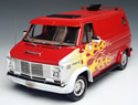 1974 Chevy Custom Van - Red w/ Flames (Highway 61) 1/18